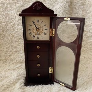 Cherry wood clock jewelry holder with drawers